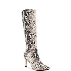 Kinga Snake Boots Pointed Toe Knee High Heels